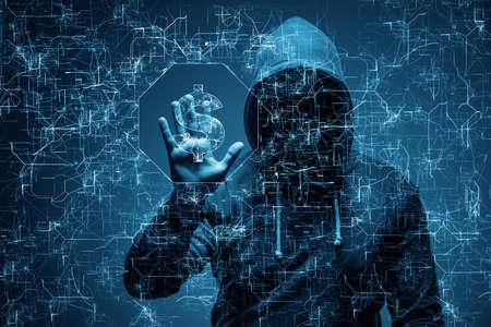 Photo pour Hacker stealing dollars from bank - image libre de droit