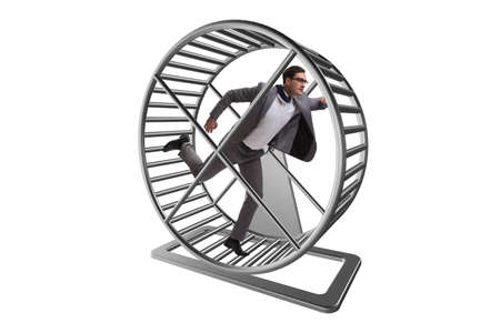 Photo pour Business concept with businessman running on hamster wheel - image libre de droit