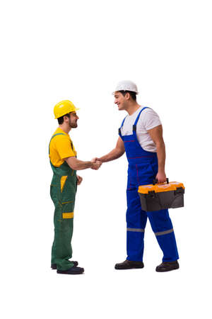 Photo pour Two workers isolated on the white background - image libre de droit