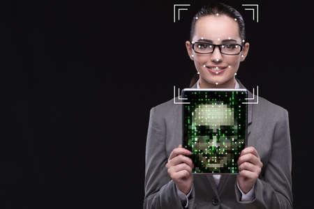 Photo pour Woman in face recognition concept - image libre de droit
