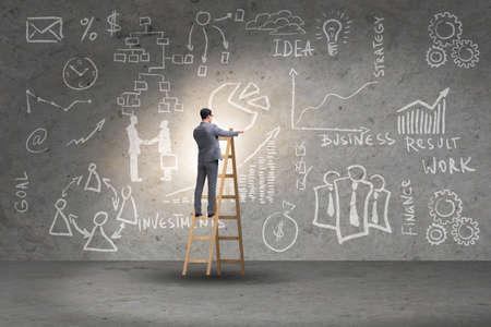 Photo pour Businessman on ladder in business concept - image libre de droit