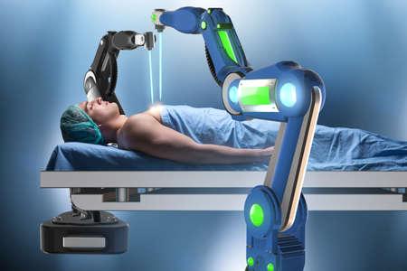 Photo pour Surgery performed by robotic arm - image libre de droit