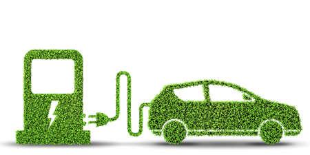 Photo pour Electric car concept in green environment concept - 3d rendering - image libre de droit