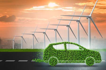 Photo pour Electric car concept with windmills - 3d rendering - image libre de droit