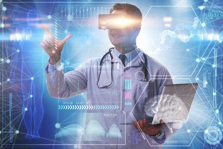 Photo pour Telemedicine concept with doctor wearing VR glasses - image libre de droit