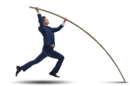 Foto de Businessman in pole vaulting concept - Imagen libre de derechos