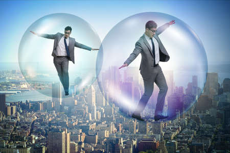 Photo pour Businessman flying inside the bubble - image libre de droit