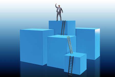 Photo pour Businessman climbing blocks in career ladder business concept - image libre de droit