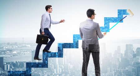 Photo pour Businessman in career ladder concept - image libre de droit
