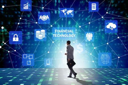 Photo pour Businesswoman walking towards financial technology fintech - image libre de droit