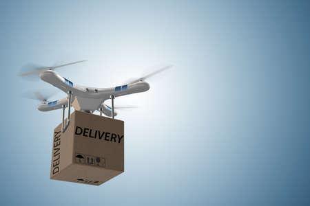 Photo pour Drone delivery concept with box in air - 3d rendering - image libre de droit
