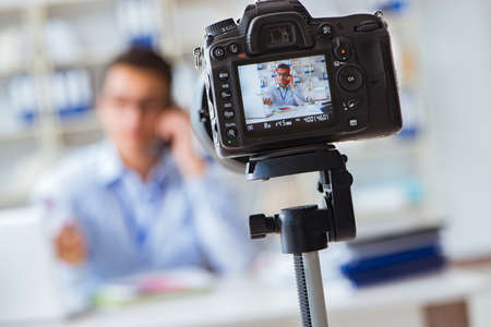 Photo for Business blogger doing webcast for his subscribers - Royalty Free Image