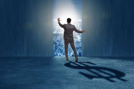 Photo pour Businessman casting dollar shape shadow in business concept - image libre de droit