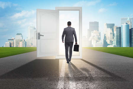 Photo for Businessman in front of door in business opportunities concept - Royalty Free Image