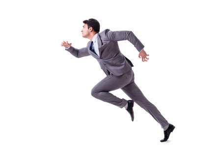 Photo pour Young businessman running forward isolated on white - image libre de droit