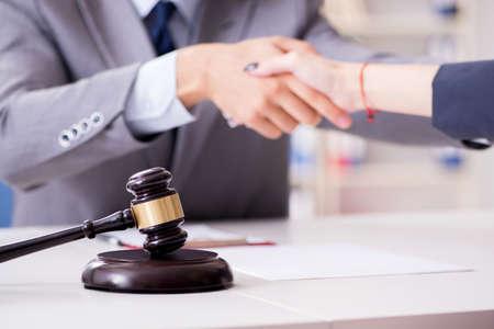Photo pour Lawyer discussing legal case with client - image libre de droit