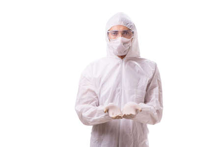 Photo for Man in protective suit isolated on white background - Royalty Free Image
