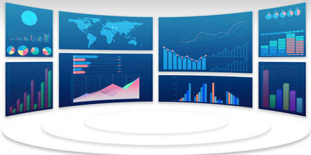 Photo pour Business charts and infographics - 3d rendering - image libre de droit