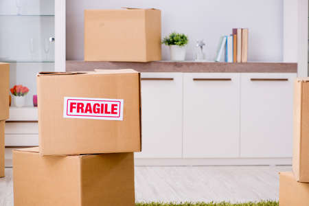 Photo pour Man moving house and relocating with fragile items concept photo - image libre de droit