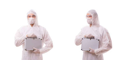 Photo for Criminologist in protective suit with steel case - Royalty Free Image