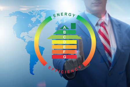 Photo pour Businessman in energy efficiency concept - image libre de droit