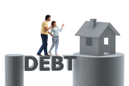 Concept of family taking mortgage loan for house