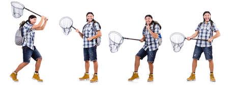 Foto de Man with catching net isolated on white - Imagen libre de derechos