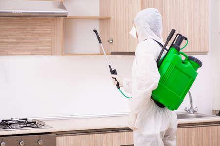Photo pour Professional contractor doing pest control at kitchen - image libre de droit