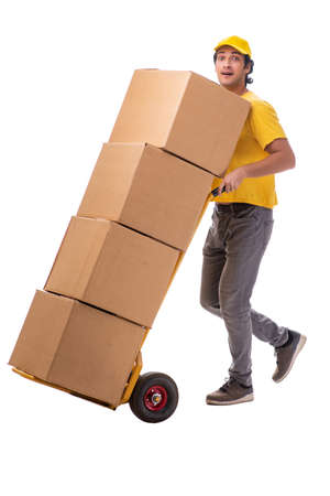 Photo pour Young male courier with box - image libre de droit