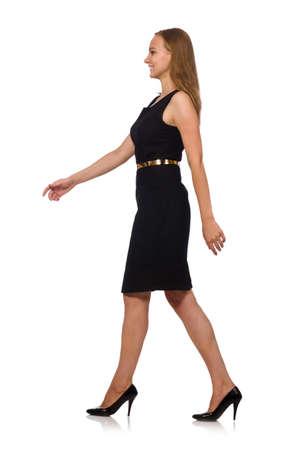 Photo pour Beautiful woman in black dress - image libre de droit