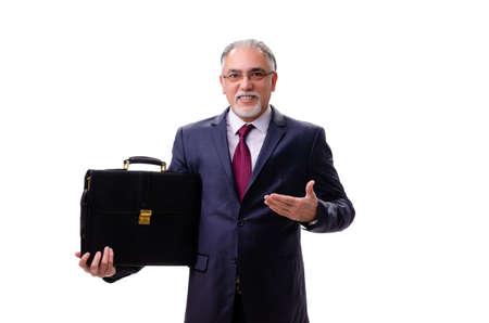 Foto de Aged businessman employee isolated on white - Imagen libre de derechos