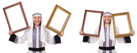 Photo pour Arab man with picture frame isolated on white - image libre de droit
