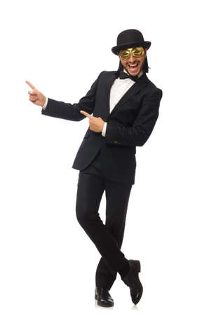Photo pour Funny man isolated on white background - image libre de droit