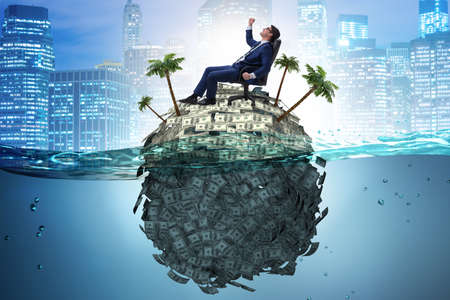 Photo pour Offshore accounts concept with businessman - image libre de droit