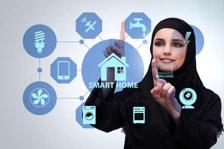 Photo pour Smart home concept with woman - image libre de droit