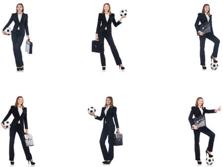 Businesslady with ball on white