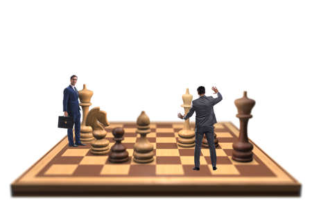 Photo pour Businessman in large chess board in strategy concept - image libre de droit