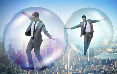 Photo pour Businessman flying inside the bubble - image libre de droit