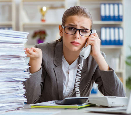 Photo for Young businesswoman accountant working in the office - Royalty Free Image