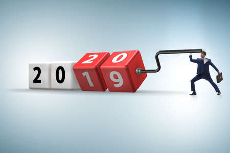 Photo pour Concept of changing year from 2019 to 2020 - image libre de droit