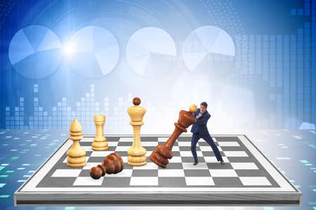 Photo pour Strategy and tactics concept with businessman - image libre de droit