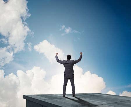 Photo pour The businessman ready for new challenges in business concept - image libre de droit