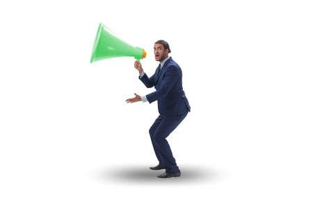 Photo for Businessman shouting through large loudspeaker - Royalty Free Image