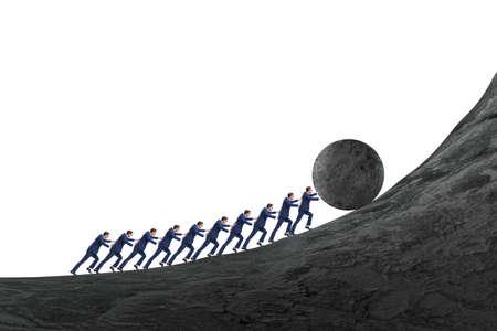 Foto de Team of people pushing stone uphill - Imagen libre de derechos