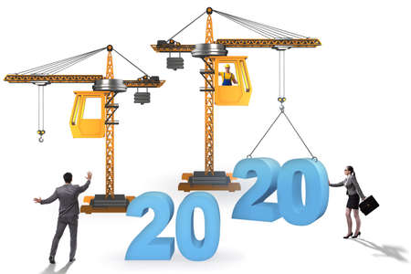 Photo for Crane lifting year 2020 in business concept - Royalty Free Image