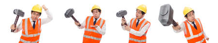Photo pour Construction worker with hammer isolated on white - image libre de droit