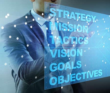 Photo pour Businessman in strategic planning concept - image libre de droit