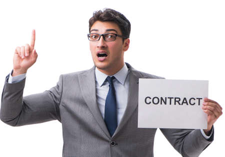 Photo pour Businessman in employment contract concept isolated on white bac - image libre de droit