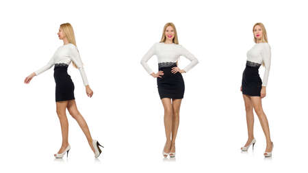 Photo pour Pretty woman in black and white dress isolated on white - image libre de droit