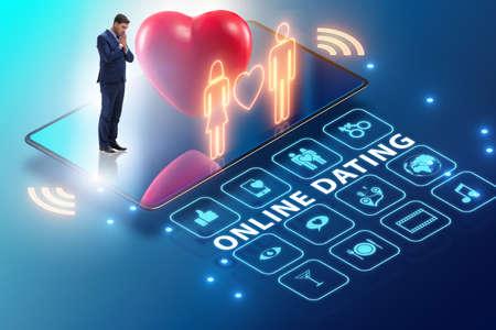 Photo pour Concept of online dating and matching - image libre de droit